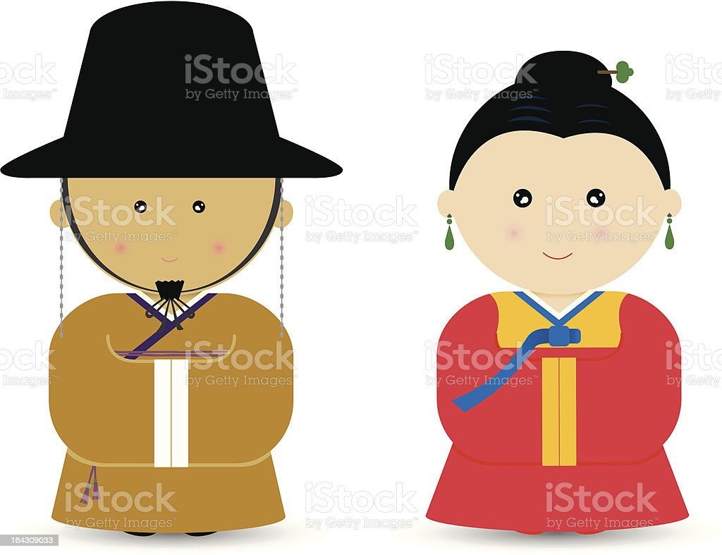 Korean Boy & Girl vector art illustration