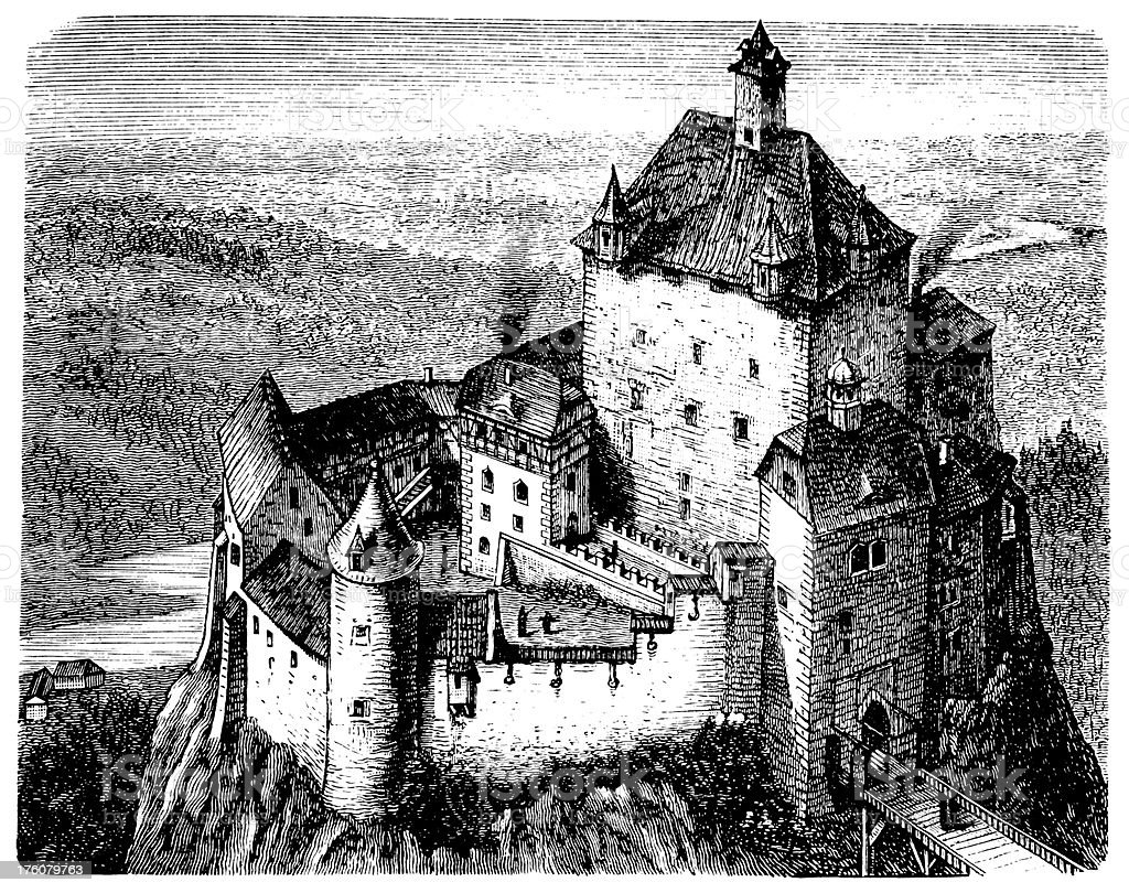 Kriebstein castle   Antique Architectural Illustrations royalty-free stock vector art