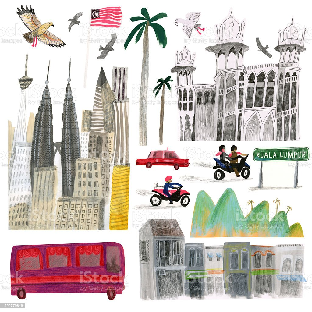Kuala Lumpur city elements isolated on white vector art illustration