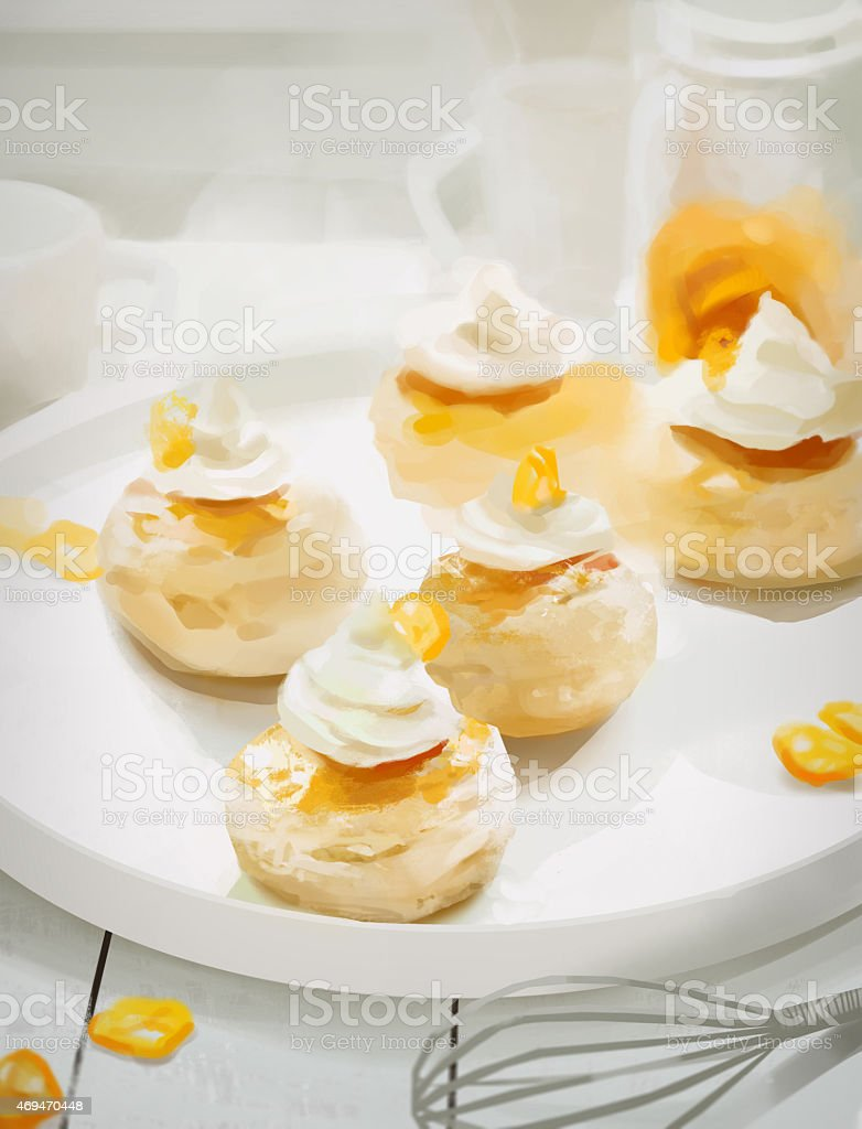 Kumquat muffins on white plate vector art illustration