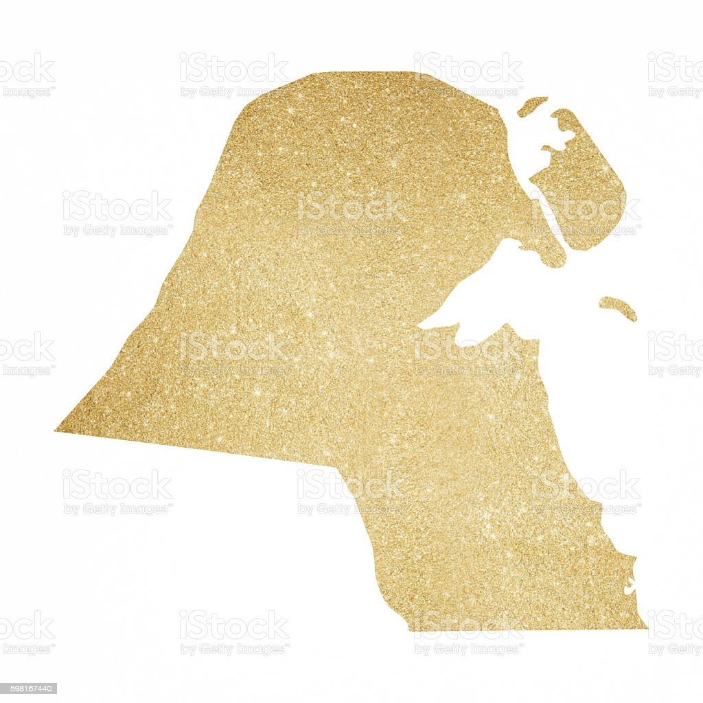 Glitter, Gold, Map, World Map, Kuwait