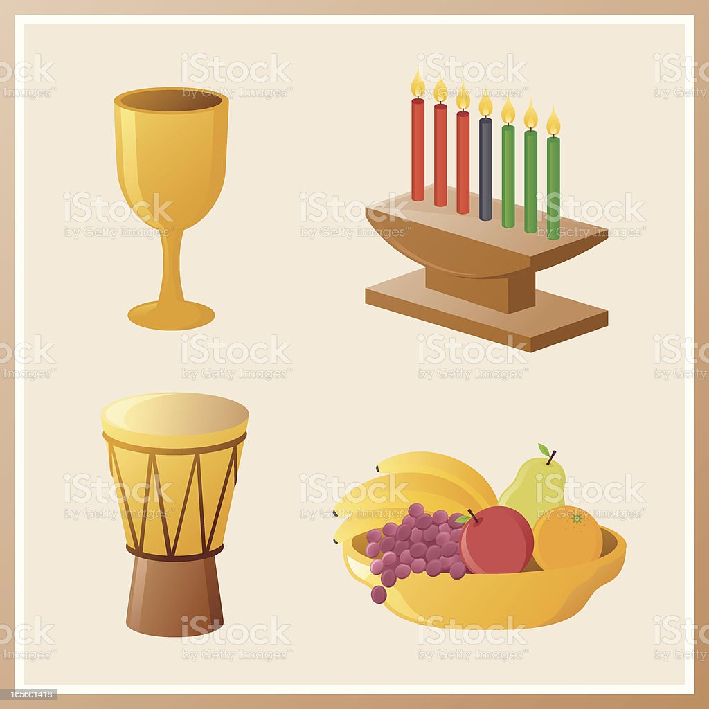 kwanzaa icons royalty-free stock vector art