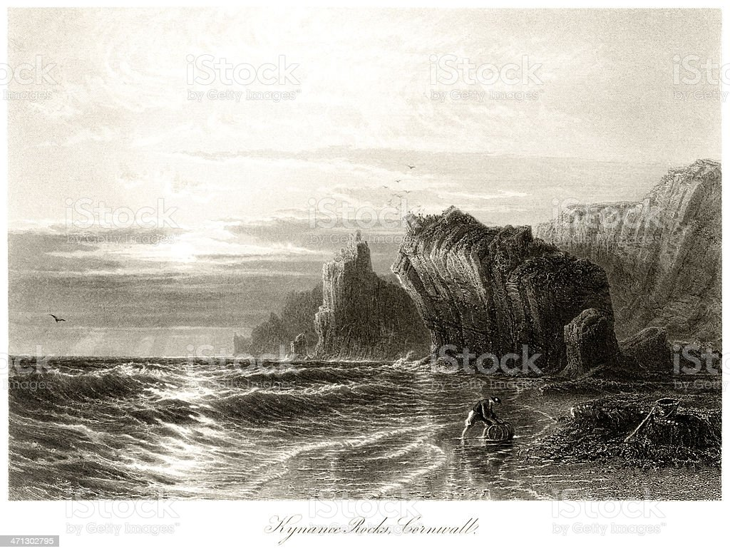 Kynance Rocks, Cornwall vector art illustration
