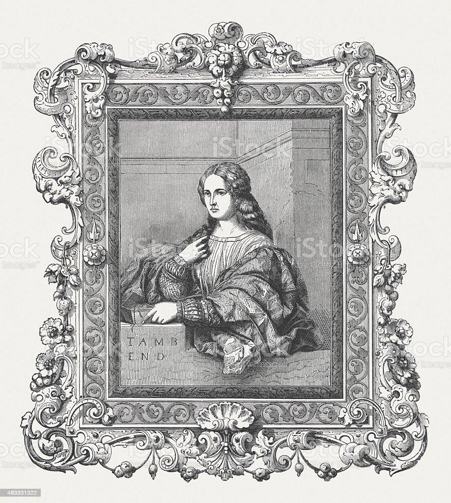 La Bella by Palma Vecchio (Italian painter), published in 1878 vector art illustration