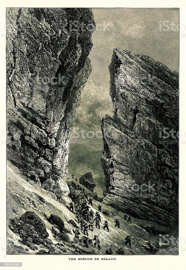 La Breche de Roland, France I Antique European Illustrations royalty-free stock vector art