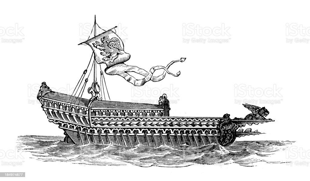 La Bucentaure Venetian Warship royalty-free stock vector art