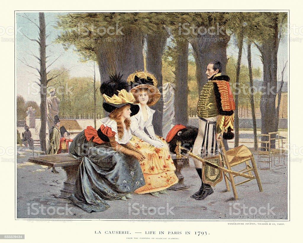 La Causerie - Life in Paris in 1793 vector art illustration