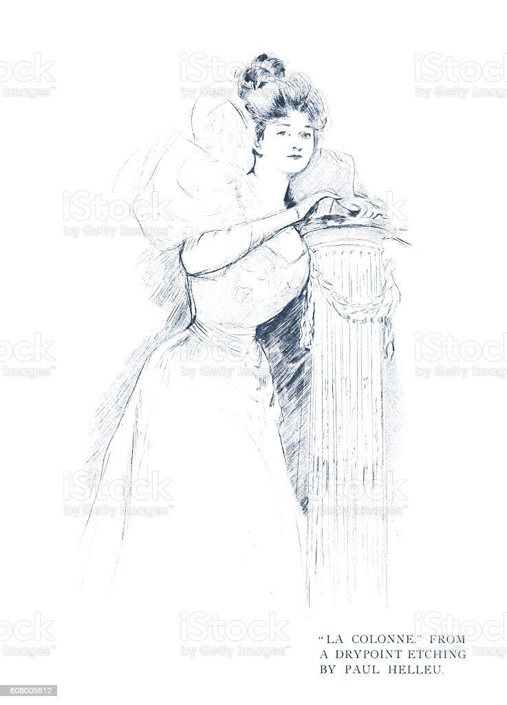 La Colonne - dry-point by Paul Helleu vector art illustration