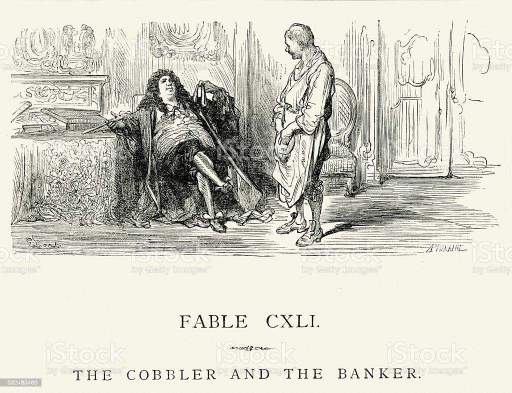La Fontaine's Fables -  Cobbler and the Banker vector art illustration