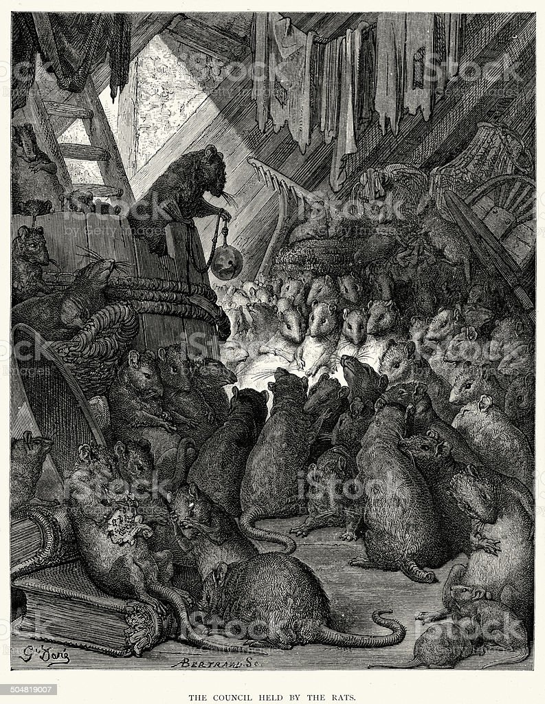 La Fontaine's Fables - Council held by the Rats vector art illustration
