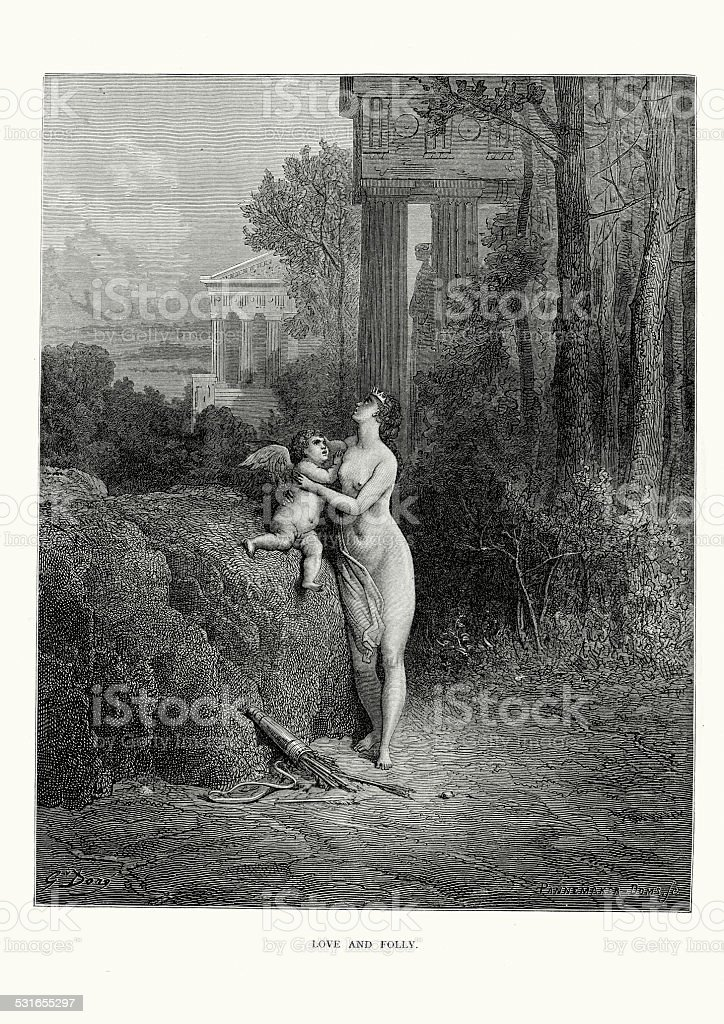 La Fontaine's Fables - Love and Folly vector art illustration