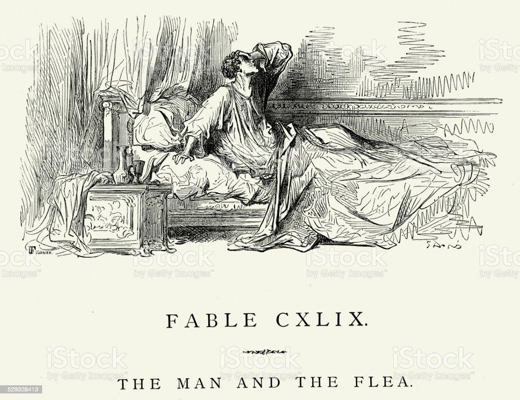 La Fontaine's Fables - Man and the Flea vector art illustration