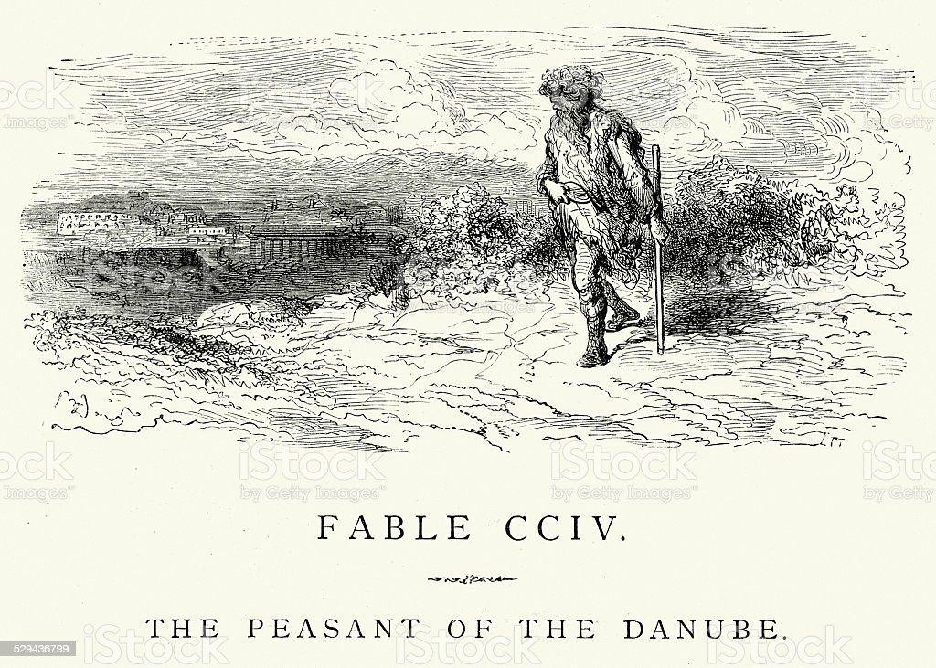 La Fontaine's Fables - Peasant of the Danube vector art illustration
