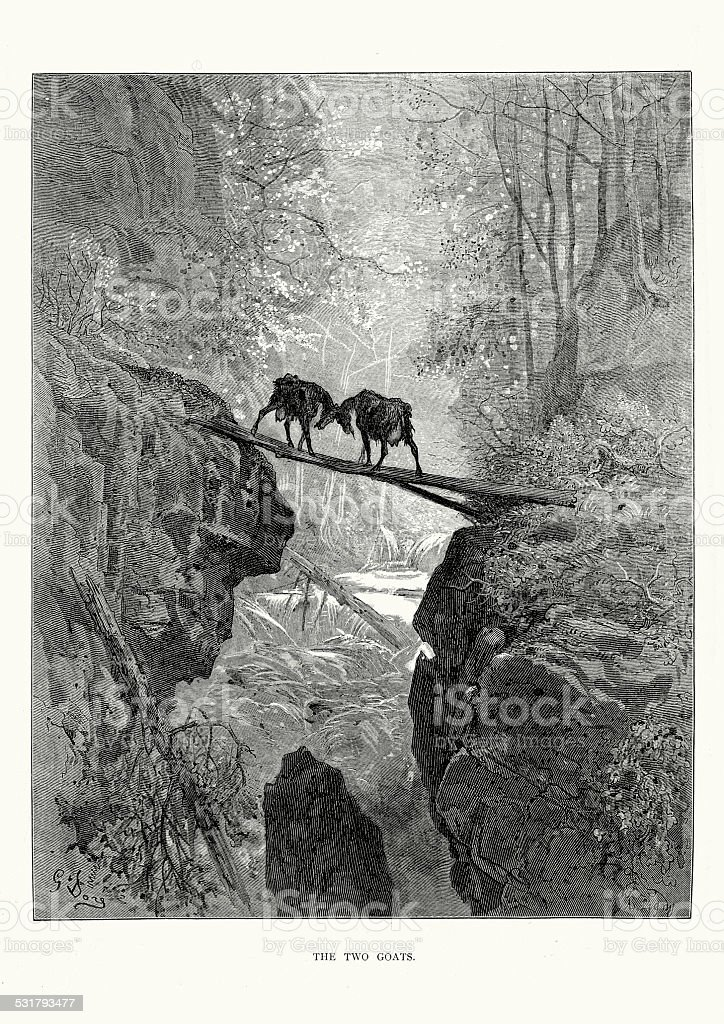 La Fontaine's Fables - The Two Goats vector art illustration