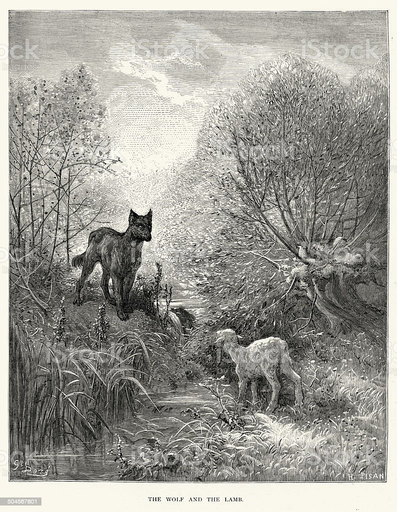 La Fontaine's Fables - Wolf and the Lamb vector art illustration