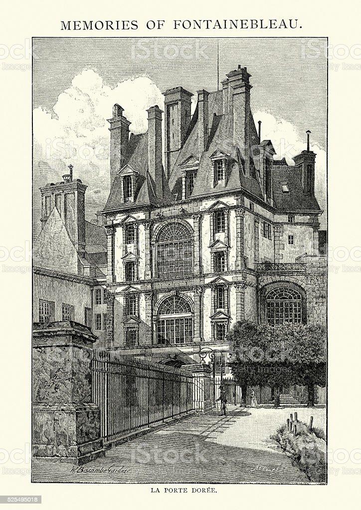 La Porte Doree - Fontainebleau, France vector art illustration