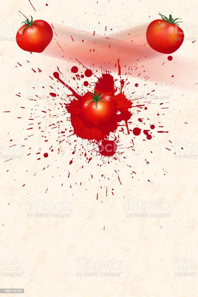 La Tomatina background [Flying the tomatos] vector art illustration