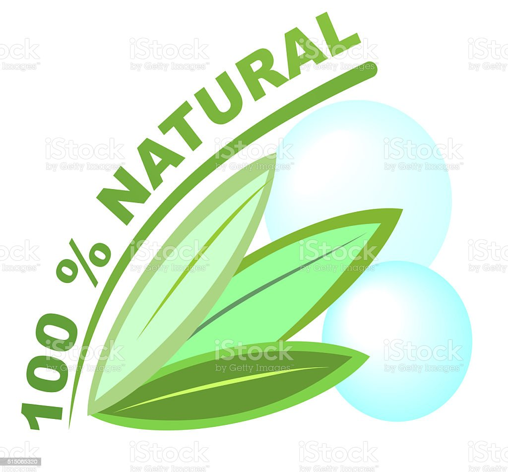 Label 100 % natural for healthy natural products stock photo