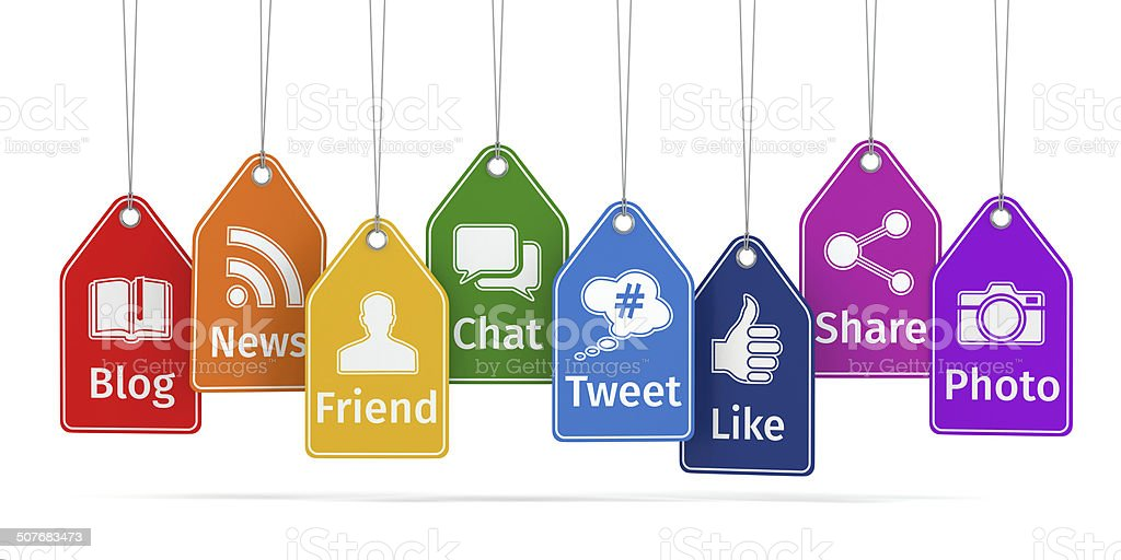 Labels with social media icons. Concept. vector art illustration
