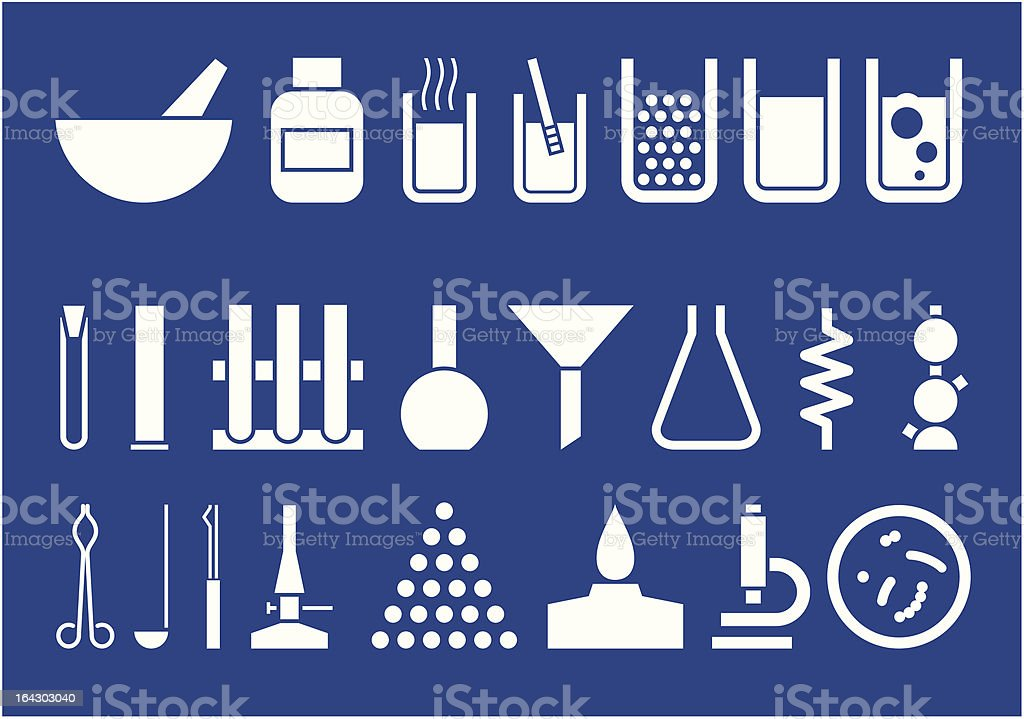 Laboratory equipment -  set of vector pictogrammes vector art illustration