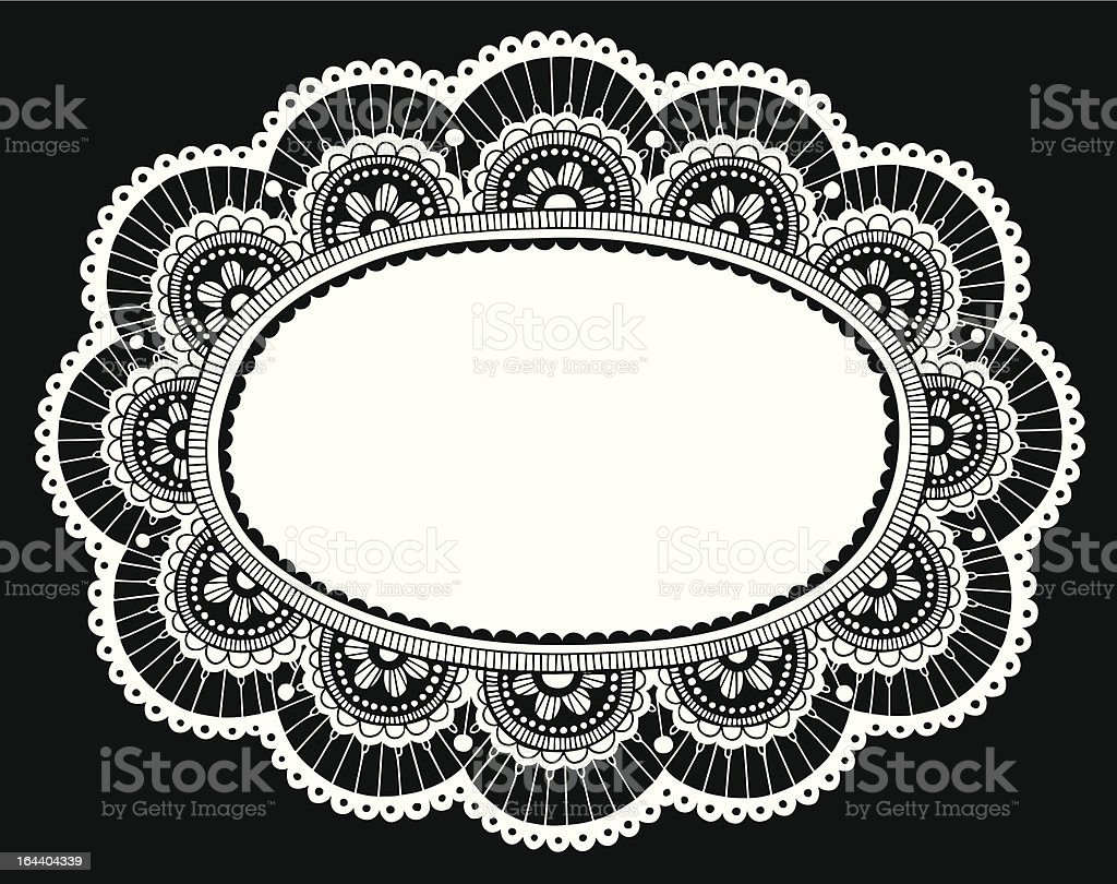Lace Doily Doodles Ornate Flower Frame royalty-free stock vector art