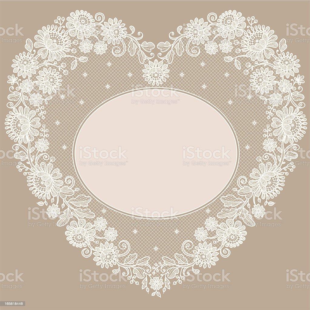 Lace Heart Shape Frame royalty-free stock vector art