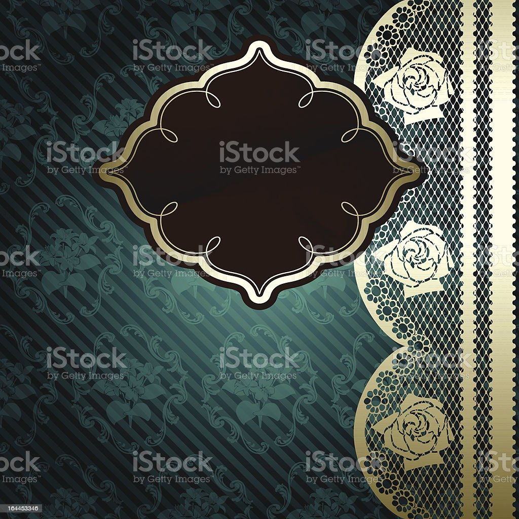 Lacy design with brown label on dark green royalty-free stock vector art