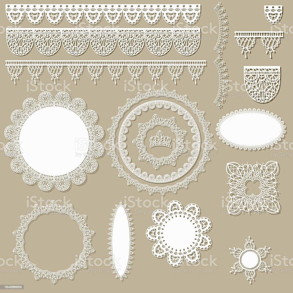 lacy scrapbook design elements vector art illustration