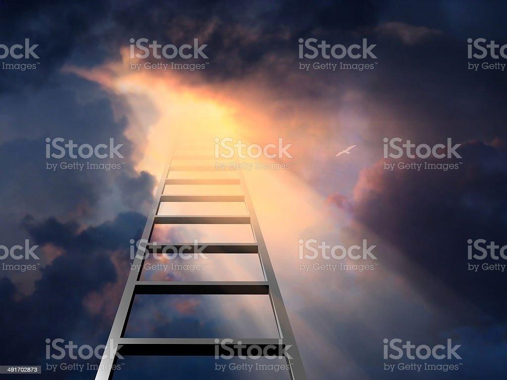 Ladder into dramatic sky vector art illustration