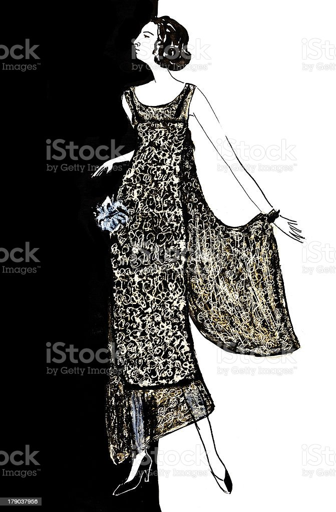 ladies evening dress 20th years royalty-free stock vector art