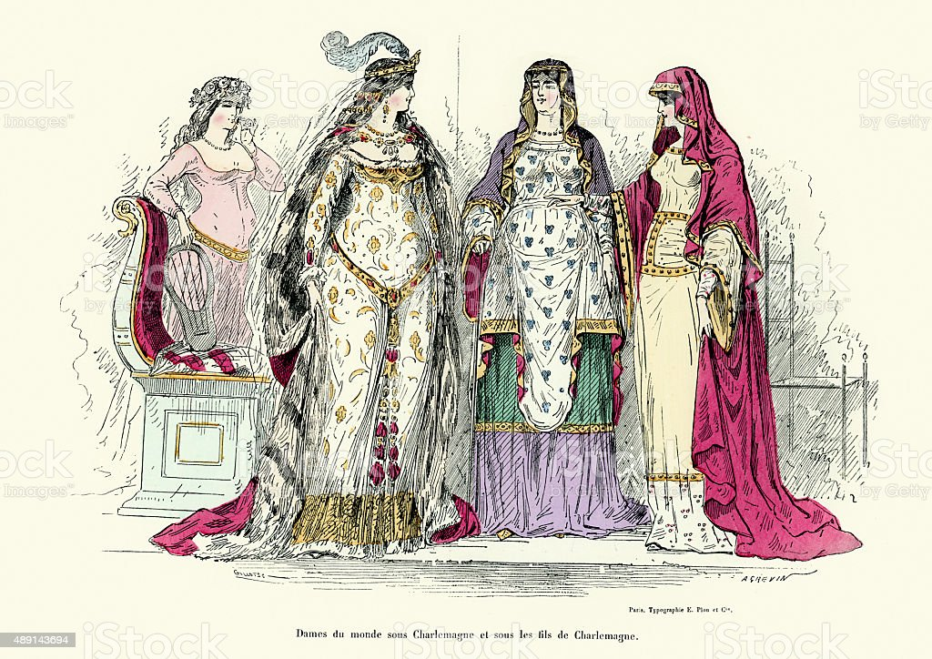 Ladies from the era of Charlemagne vector art illustration