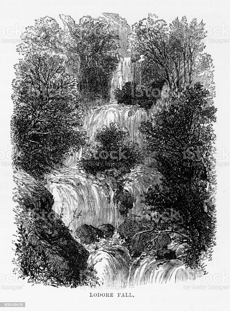 Ladore Falls, Keswick, England Victorian Engraving, 1840 vector art illustration