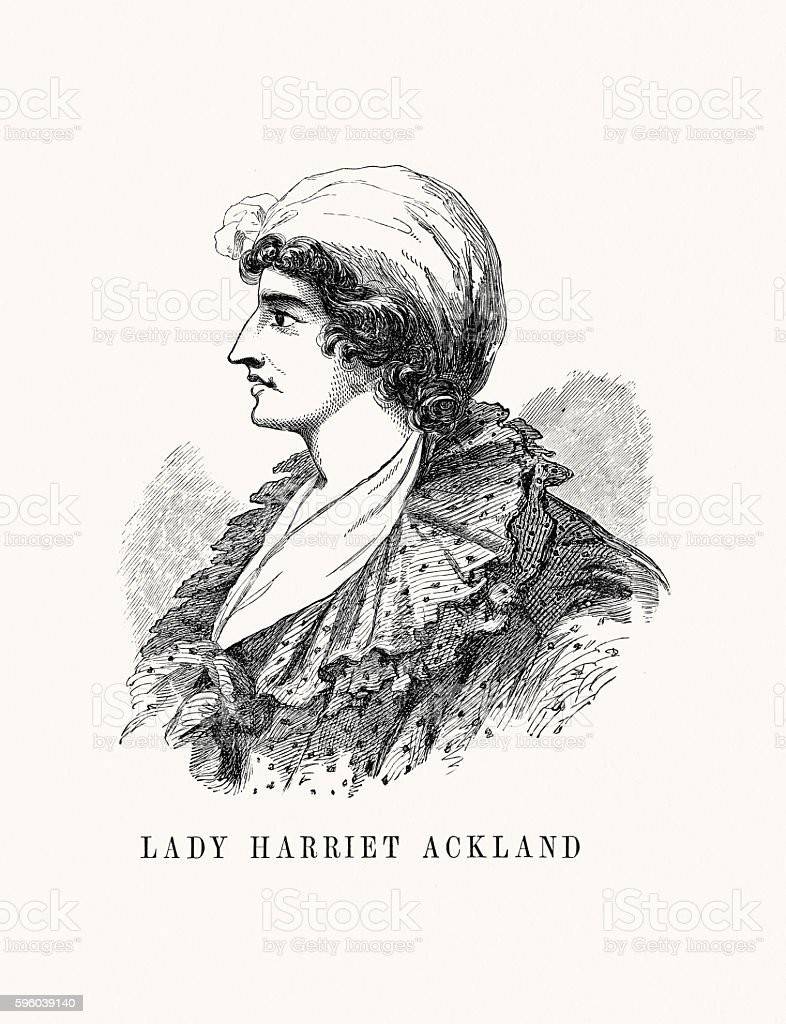 Lady Harriet Ackland vector art illustration