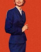 Lady in Blue Suit