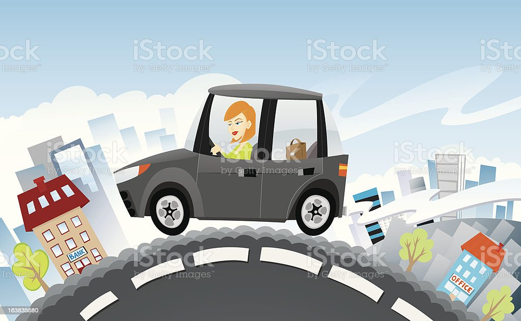 Lady In SUV royalty-free stock vector art