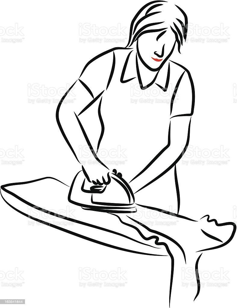 Lady ironing royalty-free stock vector art
