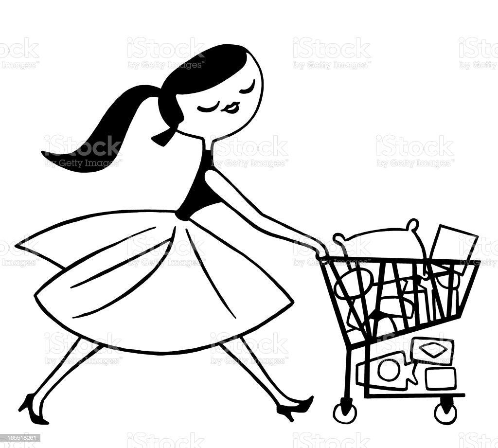 Lady Pushing a Shopping Cart royalty-free stock vector art