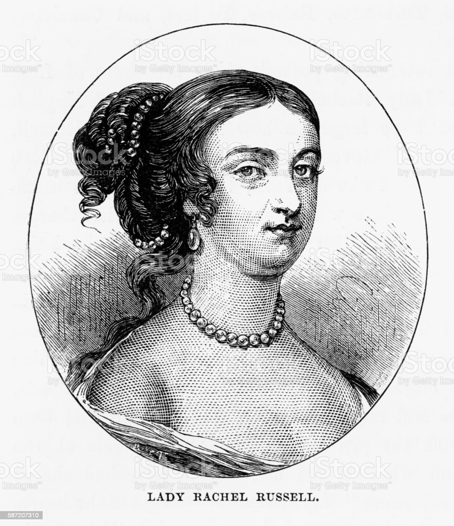Lady Rachel Russell of Woburn, England Victorian Engraving, Circa 1840 vector art illustration