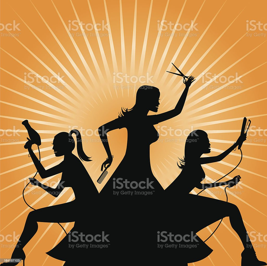 Lady Salon Team ready for action royalty-free stock vector art