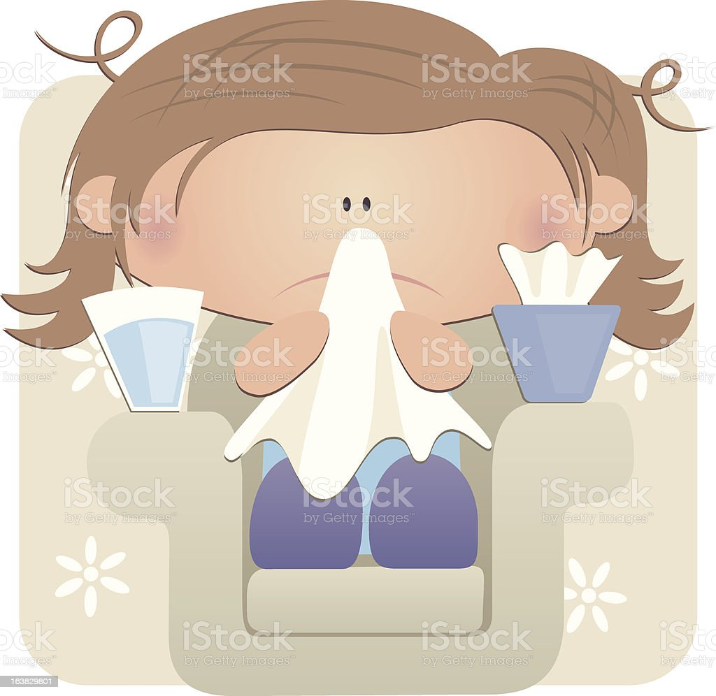lady with a cold royalty-free stock vector art