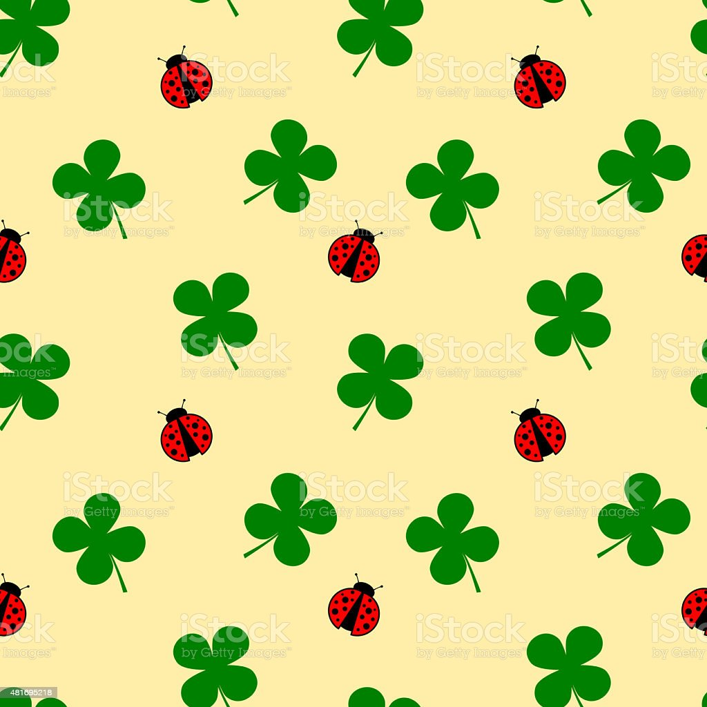 ladybug and four leaf clover seamless pattern good luck