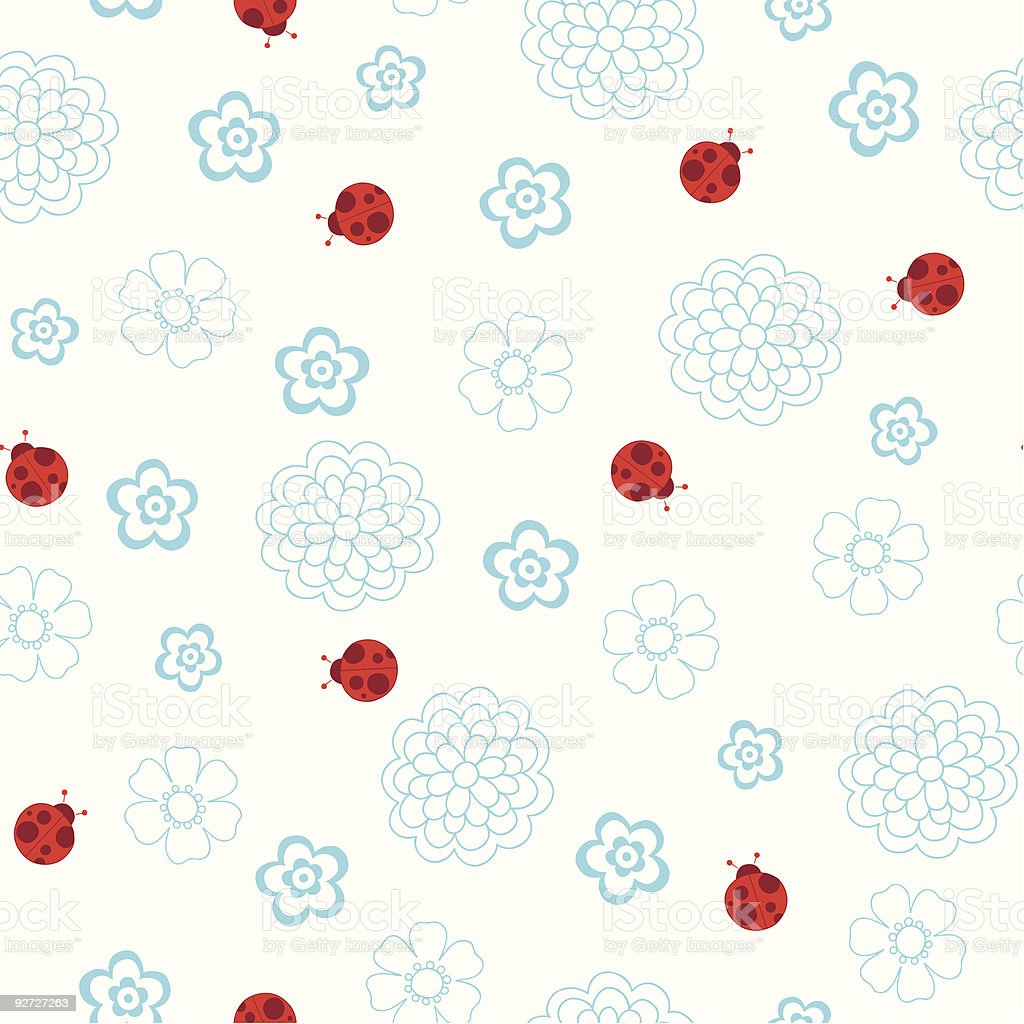 Ladybugs Seamless Repeat Pattern Vector royalty-free stock vector art