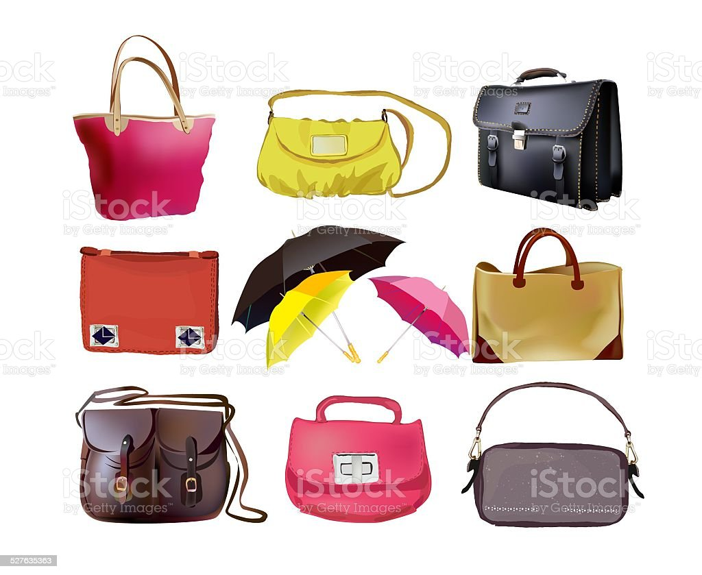 Lady's bags set vector art illustration
