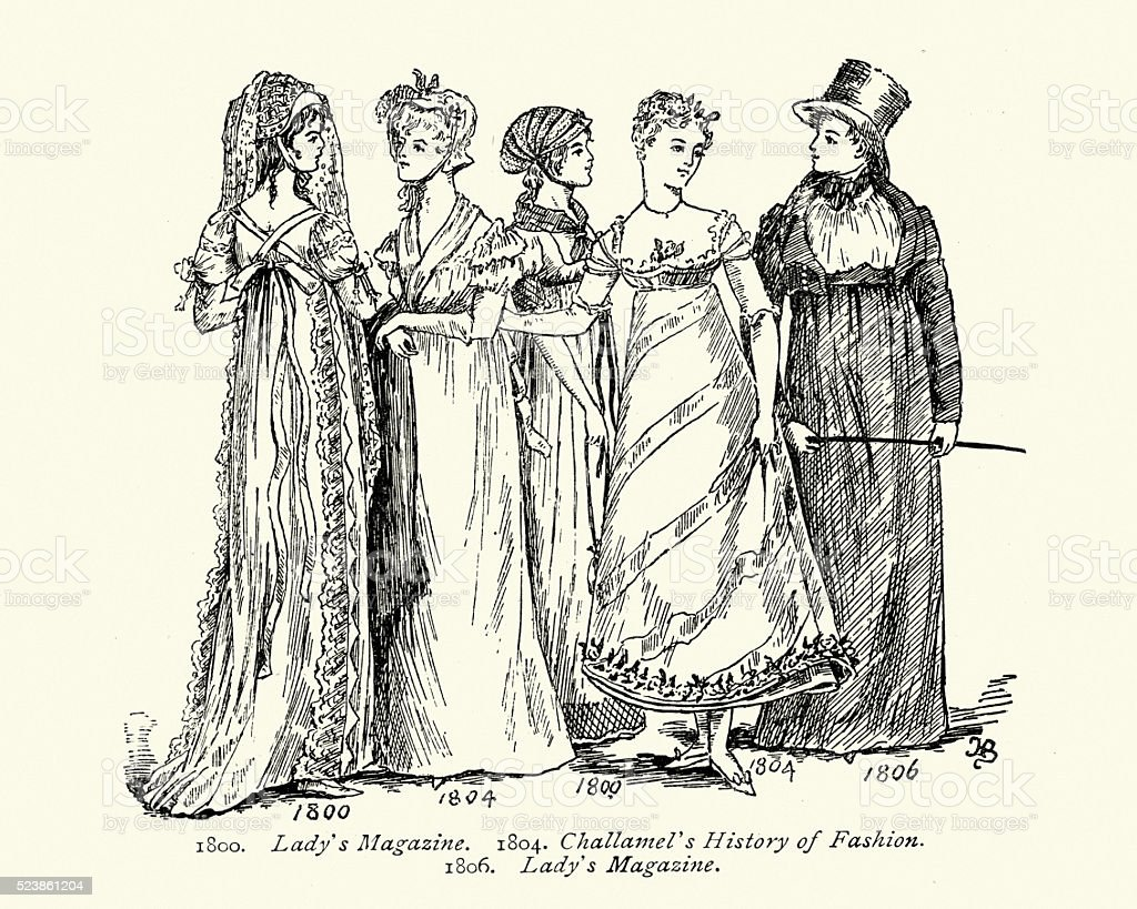 Lady's Fashions in the early 19th Century vector art illustration