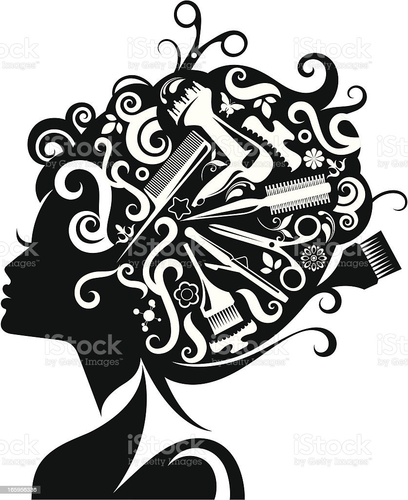 Lady's silhouette with hairdressing accessories. vector art illustration