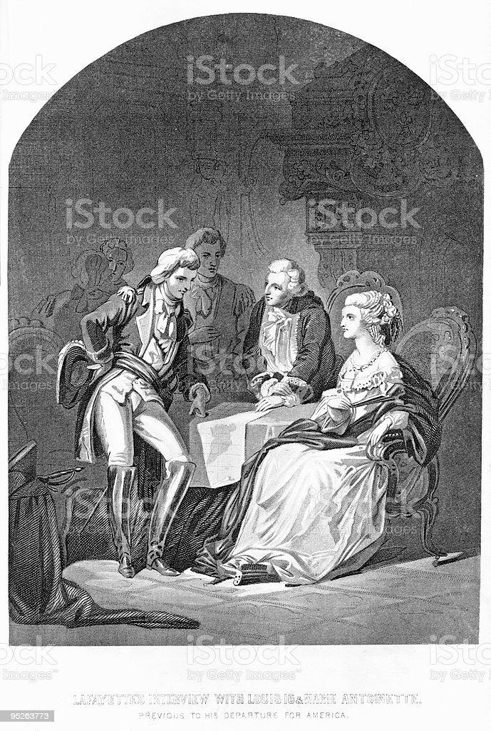 Lafayette Meets with Louis XVI and Marie Antoinette vector art illustration
