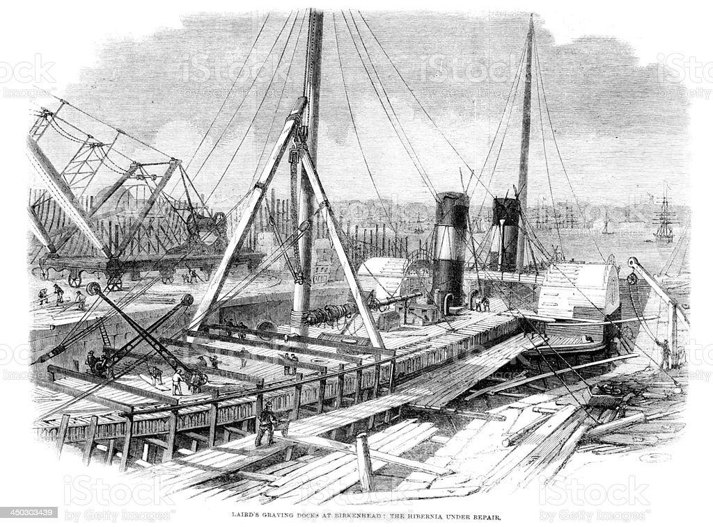 Laird's Graving Docks at Birkenhead vector art illustration