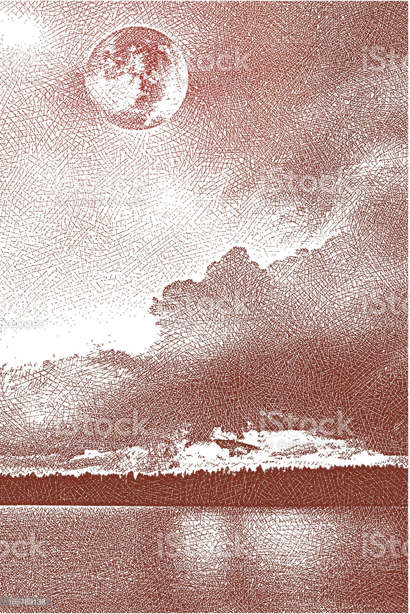 Lake and Full Moon royalty-free stock vector art