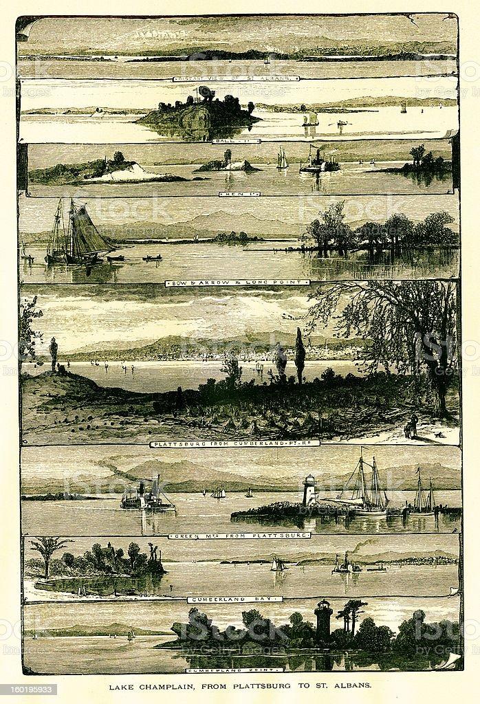 Lake Champlain from Plattsburgh to St. Albans, USA vector art illustration