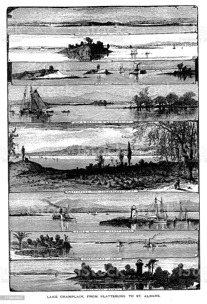 'Lake Champlain from Plattsburgh to St. Albans, USA' vector art illustration